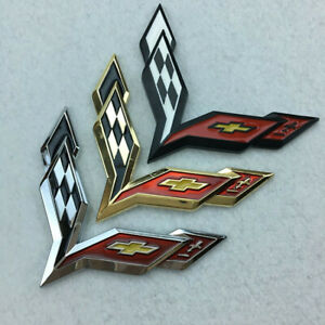 Emblem Corvette Cross Flags Decal Sticker Badge Three Color For Chevrolet New 3D