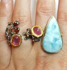 Double finger Ruby Larimar gemstone ring size 6 925 silver