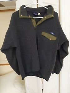 EUC Patagonia Synchilla Fleece Women's Large Button Pullover Charcoal Olive L