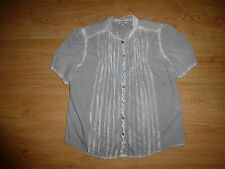 Women's Noa Noa Multi Batik Short Sleeve Mandarin Neck Button Up Cotton Top M