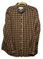 COLUMBIA SPORTSWEAR CO. Men's XL Brown Plaid Stretch Long Sleeve Casual Shirt