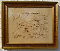 Antica Pianta Mappa di San Felice Sul Panaro (MO) cm 47x40 Cartina anno 1700