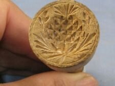 More details for wooden treen victorian antique chefs butter stamp biscuit pat mould pineapple