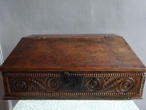 Ancien coffret écritoire scriban en bois XIXe