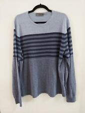 Vince Mens Pullover Light Sweater XL  Stripes Blue Linen Blend