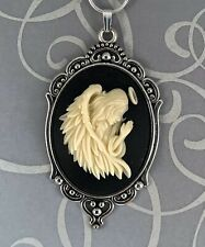 GUARDIAN ANGEL CAMEO Silver Pendant NECKLACE Large Feather Wings RELIGIOUS GIFT