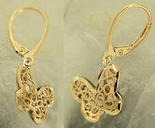 Schmetterling Ohrhänger Gold 585 - Ohrringe bicolor Goldohrringe Schmetterlinge