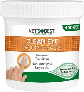 Eye Cleaning Round Pad Dogs Tear Stain Remover Tub Safe & Natural 100 Pcs Wipes