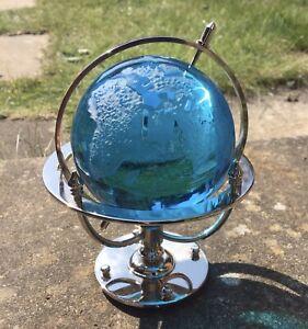 Small Blue Glass Rotating World Globe On A Chrome Stand