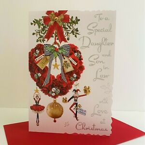 Jonny Javelin Special Daughter And Son In Law Christmas Card Heart Wreath/XV041