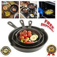 3 Pcs Pre-seasoned Cast Iron Skillet Set Stove Oven Fry Pans Pots Cookware NEW