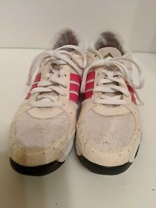 Adidas Training Shoe Womens sz 9 White With Hot Pink Strips .