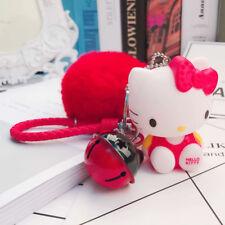 Hello Kitty Keychain Pom Pom Porte Clef Bag Car Key Ring Cartoon Fur Ball Women