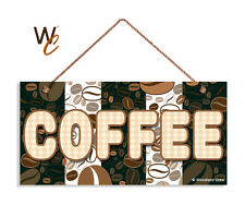 Fun Coffee Sign, Coffee Bean Patterns, 5x10 Wood Sign, Cafe Sign