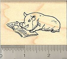 Pig Reading Rubber Stamp H7903 Wood Mounted New