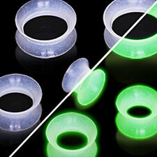 Paire Piercing Oreille Ecarteur Flesh Tunnel Ear Plug Silicone Glow in the Dark