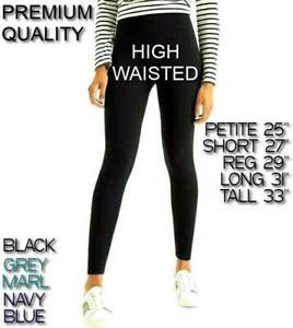 PREMIUM High WAIST Womens LEGGINGS Soft PETITE Ladies TALL Seamless UK Size 6-28