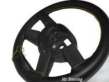 Cuero Negro cubierta del volante de Mercedes Actros Nuevo 12 + el pespunte amarillo de