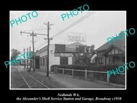 OLD HISTORIC PHOTO OF NEDLANDS WEST AUSTRALIA, SHELL OIL Co PETROL STATION 1930