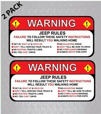 "Pair (2) Jeep Rules Warning Wrangler Sahara  Decal Sticker Funny 2.5"" x 5.25"""