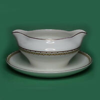 Cleveland China Gravy with Attached Plate Boat White 18 Carat Gold Paint Bowl
