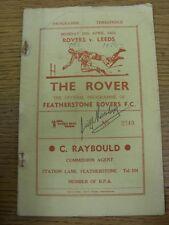 25/04/1960 programa de Liga de Rugby: Featherstone Rovers v Leeds [posible Autogra