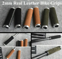 1 Pair Handmade 2mm Genuine Real Leather Bicycle Handlebar Grips Cycling Grips