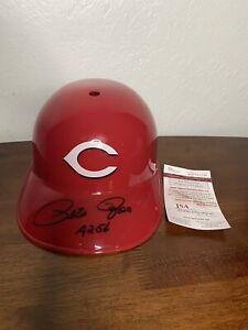Pete Rose Autographed Reds Helmet JSA COA authenticated - inscribed 4256