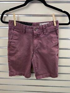 Volcom Boys 25/10 Wine Maroon Red Chino Shorts