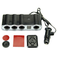 Multi Socket Auto Car Cigarette Lighter 4 Way Splitter USB Plug Adapter Charger