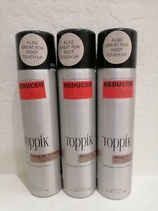 Bundle of 3 Toppik Colored Hair Thickener Black 5.1 oz. Light Brown