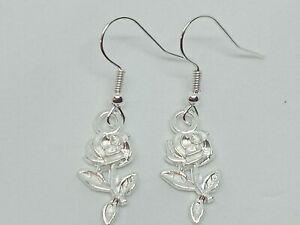 New Silver Rose Charm Drop/Dangle Earrings Kitsch Novelty Quirky Retro