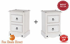 White Wash CORONA 2 Drawer Petite Bedside Table Cabinet Furniture Shabby Chic