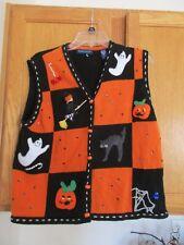 Halloween Karen Scott Embellished Pumpkins and Ghost SIZE Large Vest
