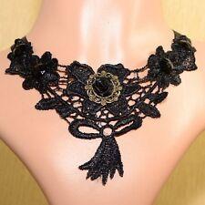 Punte Collare Nero Gotico Collier collare Victorian Collana Barocco Rosa C12B