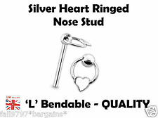 Sterling SILVER Heart Slave Ring 5mm NOSE STUD 24g (0.5mm) x 10mm  'L'  Bendable