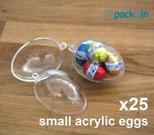 x25 qty SMALL 6cm EGGS BAUBLES - CLEAR ACRYLIC PLASTIC EGG TWO PIECE easter