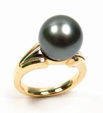 11-12mm Top Quality Tahitian Black Pearl Ring in 6.31g 14K Two Tone Gold