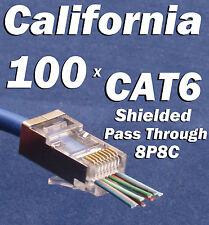 100 CAT6 EZ RJ45 Network Shielded Modular Plug 8P8C Connector End Pass Through