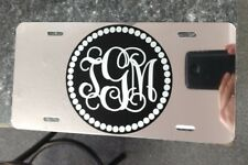 Monogram initials chrome license plate car tag
