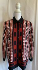 Allison Daley Size 12 Red Blue White Button Down Long Sleeve Collared Blouse