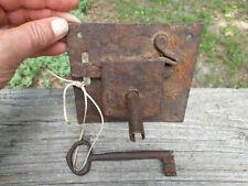 1700's 1800's Antique Iron Lock Hollow Unique Key Shape Unusual Design