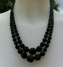 Ancien COLLIER noir, Perles facettes Jais. Old French Jet black NECKLACE VINTAGE