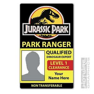 PERSONALISED Printed Novelty ID- Jurassic Park Ranger Dinosaur Expert Pass Card