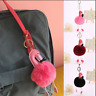Keyring Fluffy Faux Fur Flamingo Ball PomPom  Car Pendant Handbag Key Ring Chain