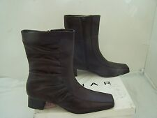 Size 5 brown leather mid calf block heel boots from Lunar