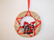 Scandinavian Elf Couple on Straw Wreath with Red Ribbon #298