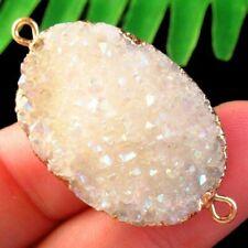 K95825 Titanium Crystal Agate Druzy Quartz Geode Connector Pendant Bead
