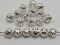 200 Silver Plated Metal Round Filigree Spacer Beads 6mm Jewelry Findings