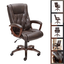 Bonded Leather Managers Chair Brown High Back Executive Desk With 5 Wheels Base